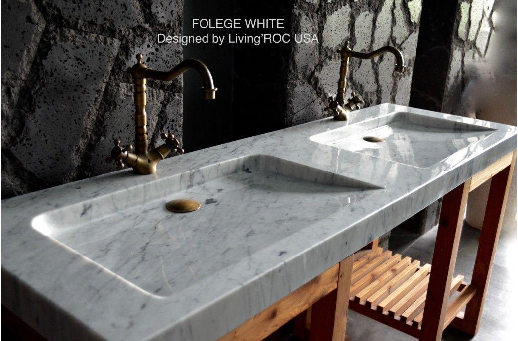 63 39 39 Double White Carrara Marble Trough Bathroom Sink