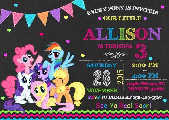 My Little Pony Invitation Birthday My Little Pony By