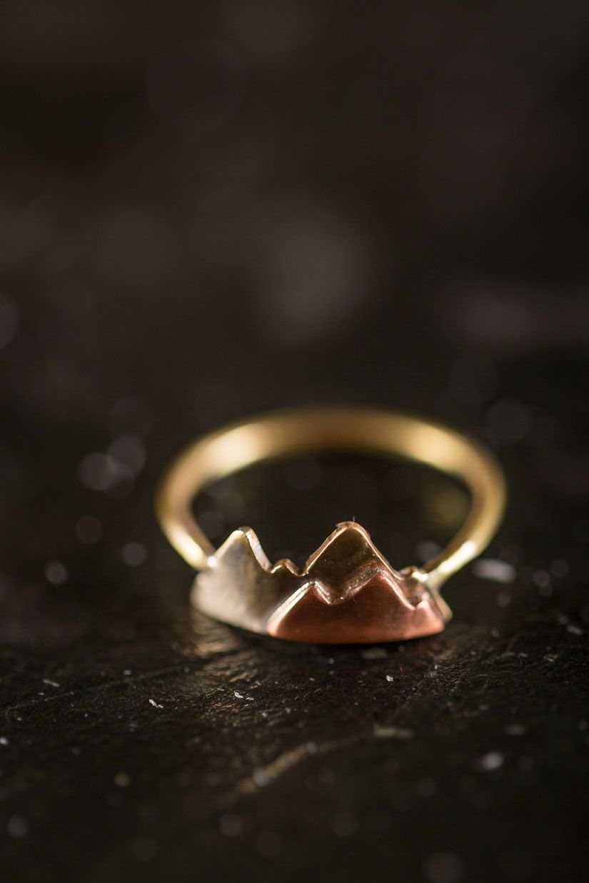Mountain ring in sterling silver brass or k gold fill bijoux