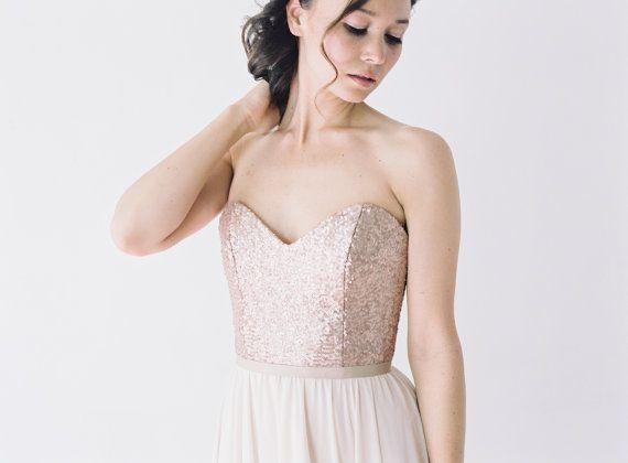 rochelle rose gold sequinned wedding dress