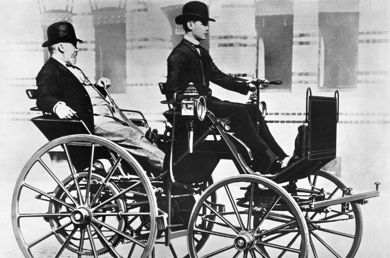 Gottlieb Daimler And His Son Adolf In The Motor Carriage 1886