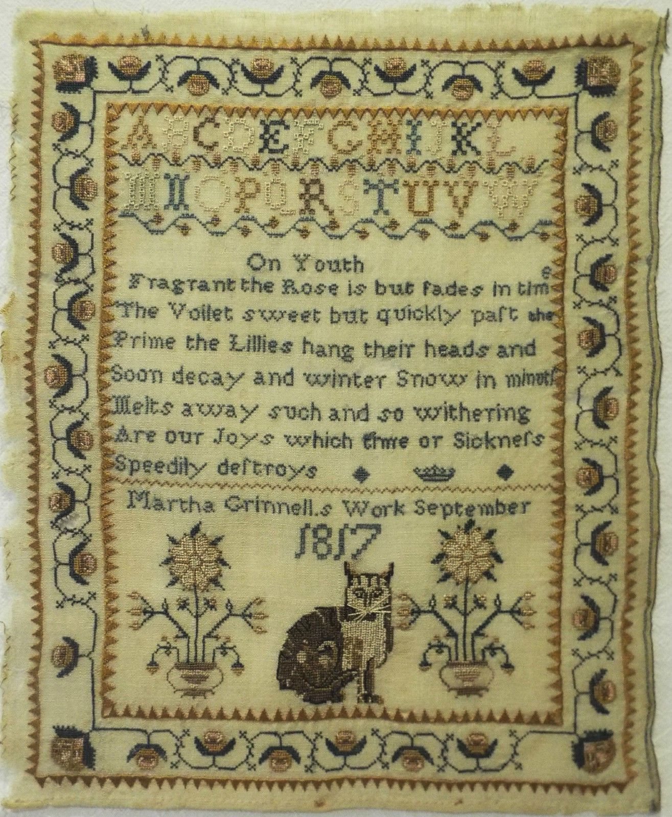 Small Early 19th Century Cat Sampler by Martha Grinnell 1817 ...