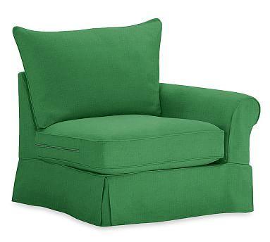PB Comfort Roll Arm Right-arm Chair Slipcover, Knife Edge, Linen Blend Grass Green