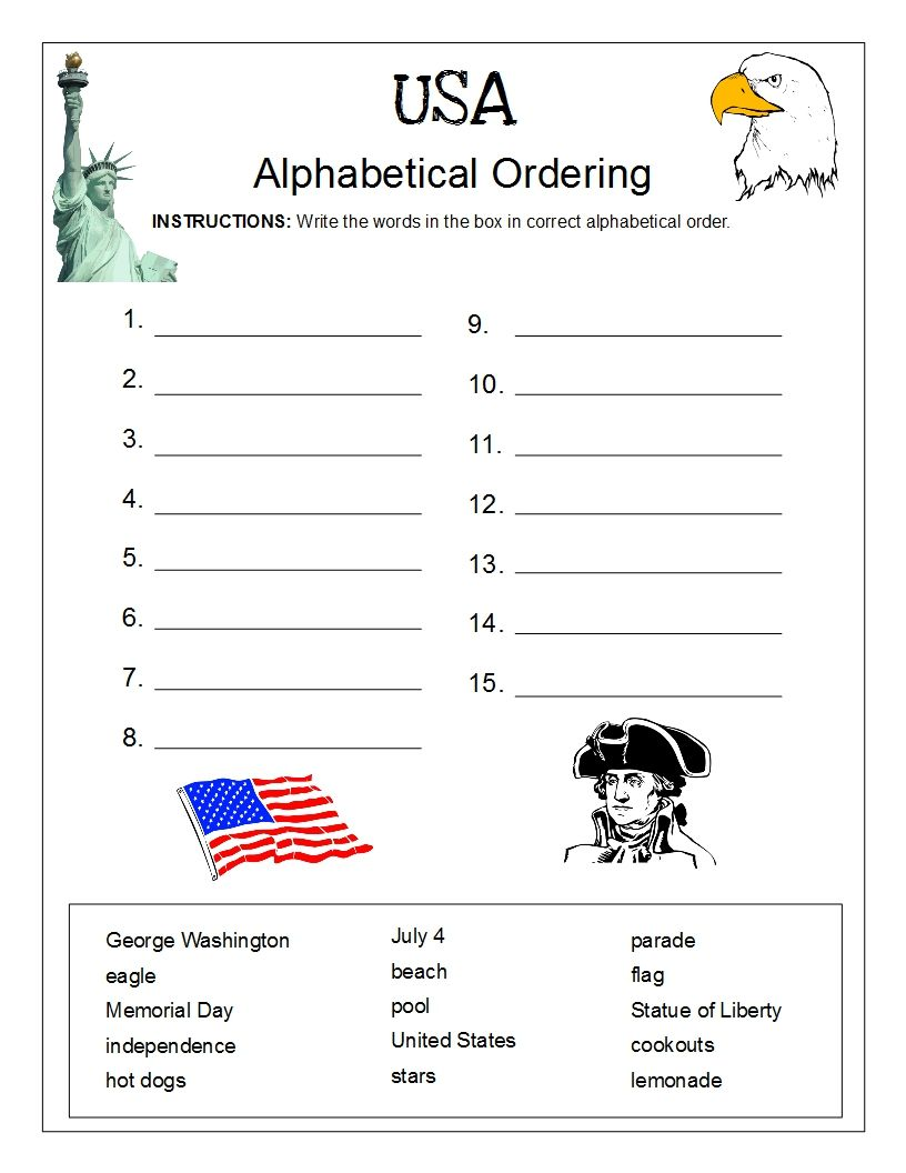 Alphabetical Order Usa Alphabetical Order Worksheets Complex Sentences Worksheets Worksheets Free