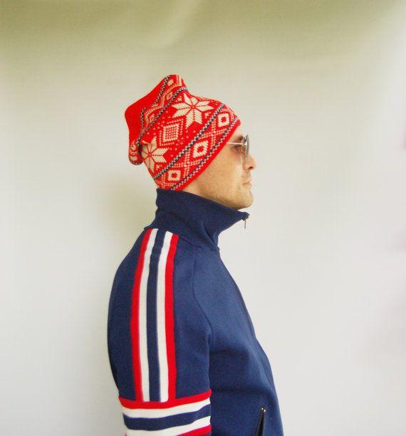 80s Vintage Winter Ski Hat Geo Norwegian Print White Red   1980s Beanie  Knitted   Unisex Cap Squid Hat   Alien Eye s hat   Sport Hat Cap d8ff03c9618