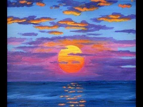 Comment peindre le soleil a l 39 acrylique sur la toile cours complet youtube utile pinterest - Paysage peinture facile ...