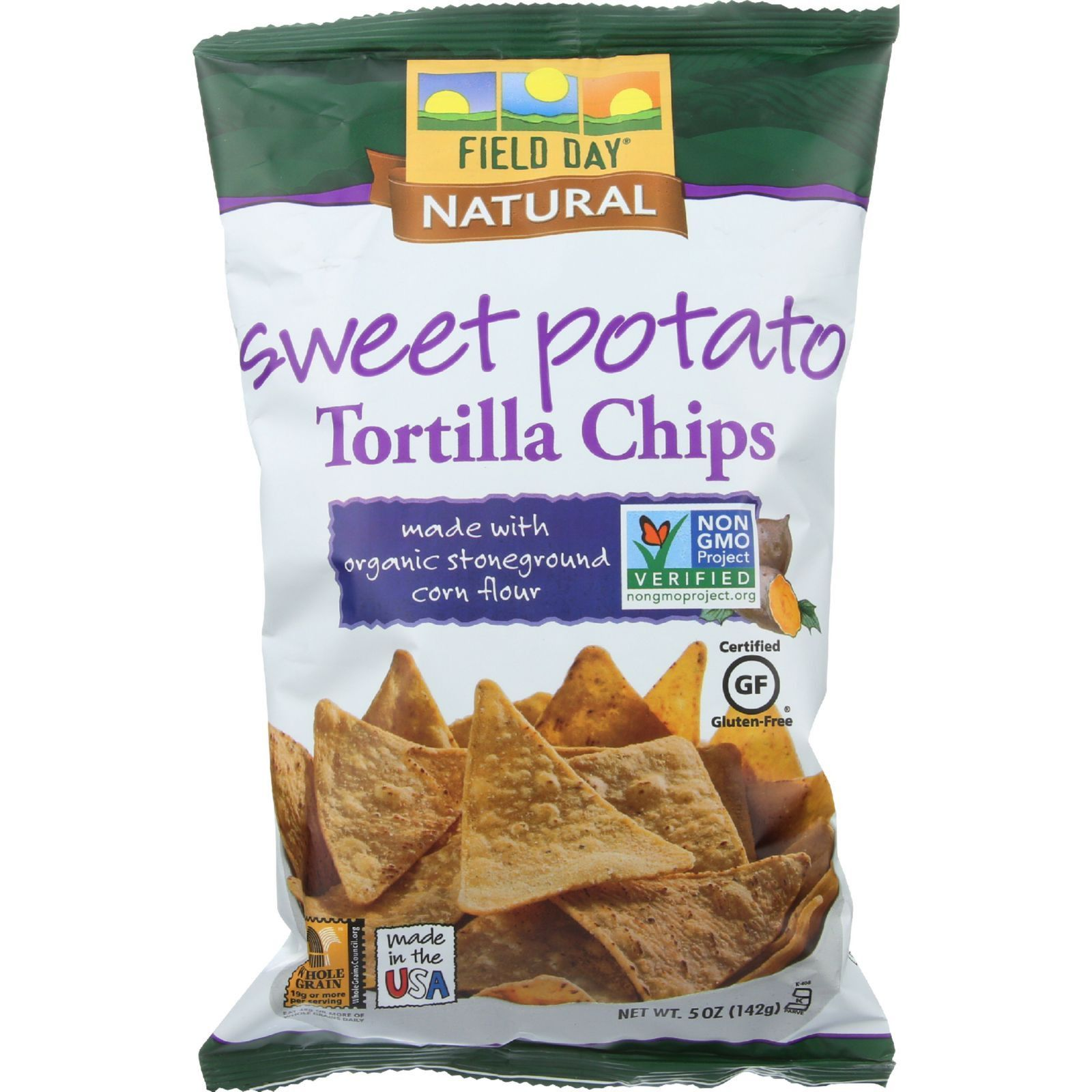 Field Day Tortilla Chips - Organic - Sweet Potato - 5 oz - case of 12 - Field Day Sweet Potato Tortilla Chips add a hint of sweetness to every bite! Made with organic sweet potato and yellow corn, these delightfully crispy chips take sweet and salty to a whole new level. Use as a base for nachos, alongside chili, or with any of Field Day Organic Salsas. They are gluten free and low in sodium, so let the munching begin! Organic: 70%+ Organic Gluten Free: Gluten Free Dairy Free: Yes Yeast…