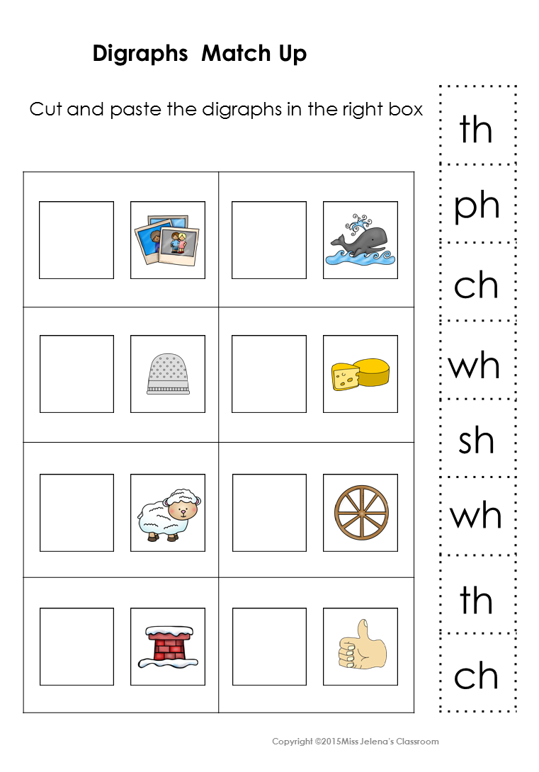 Workbooks www education com worksheets answer key : Digraphs Matching Set | Language arts, Special education and Language