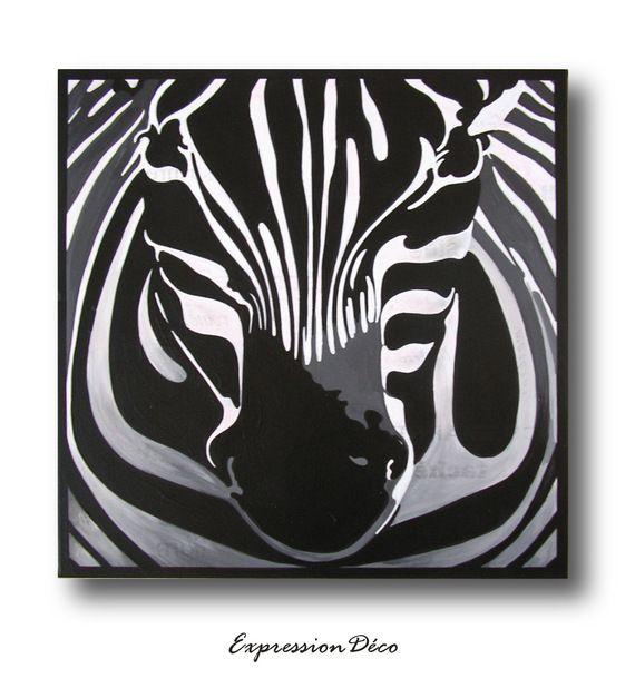 tableau le zebre noir et blanc sur toile 50 x 50 cm. Black Bedroom Furniture Sets. Home Design Ideas