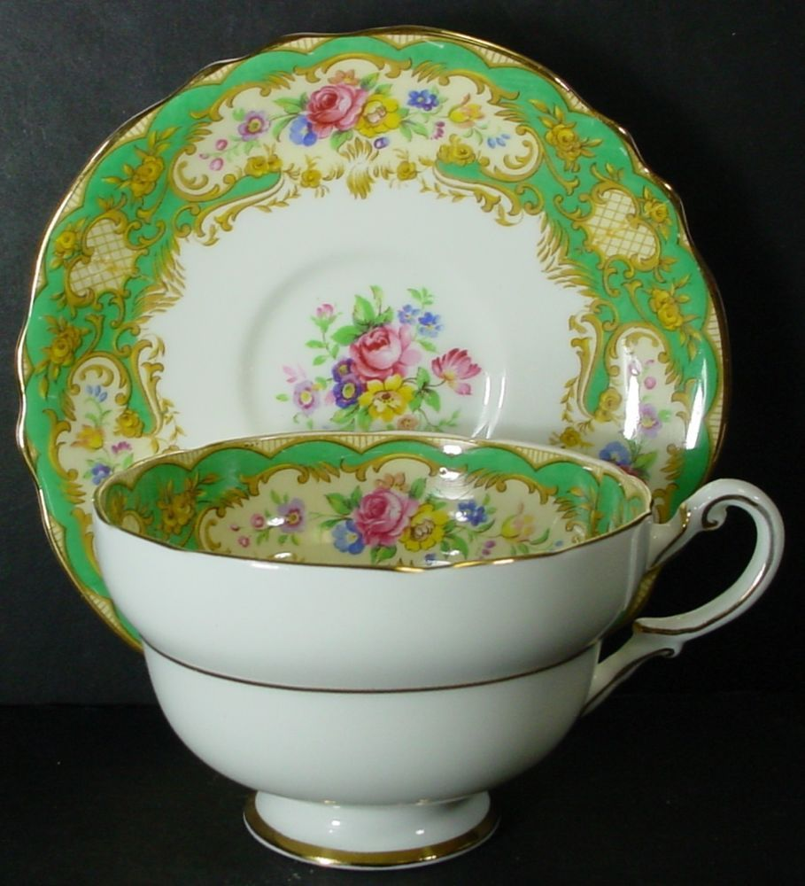 "PARAGON china POMPADOUR GREEN pattern CUP & SAUCER Set Cup 2-1/4"" x 3-3/4"""