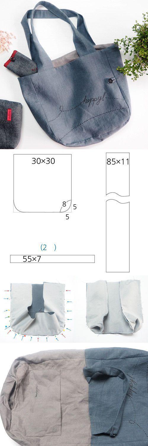 Nähen Sie eine Einkaufstasche: kostenloses Schnittmuster + Nähanleitung. www.free-tutorial … – nähen schnittmuster #bags