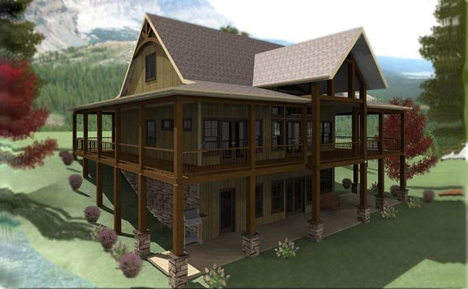 3 Bedroom Open Floor Plan With Wraparound Porch And Basement Rustic House Plans Lake House Plans Lakefront Homes