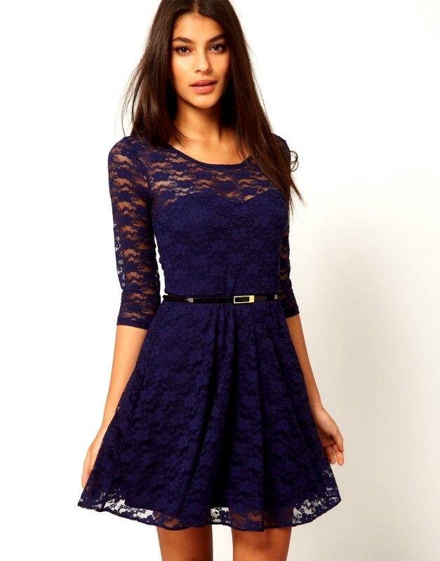 Vestido Azul Marino Blue Pinterest Vestidos And Fashion