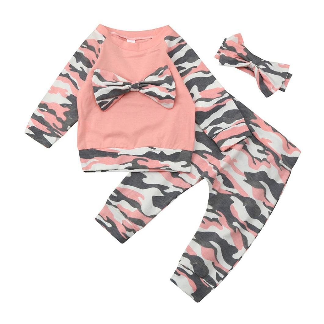 b14e41df4bc29 NewKelly Newborn Toddler Baby Girls Boys Camouflage Bow Tops Pants Outfits  Set Clothes Pink 80 Pink 80 *** Be sure to examine out this incredible item.
