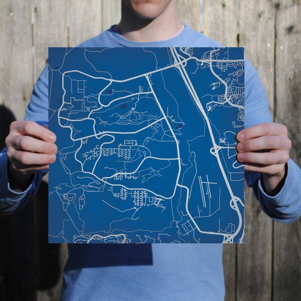 Air Force Academy Campus Map.United State Air Force Academy Campus Map Art Military Base And