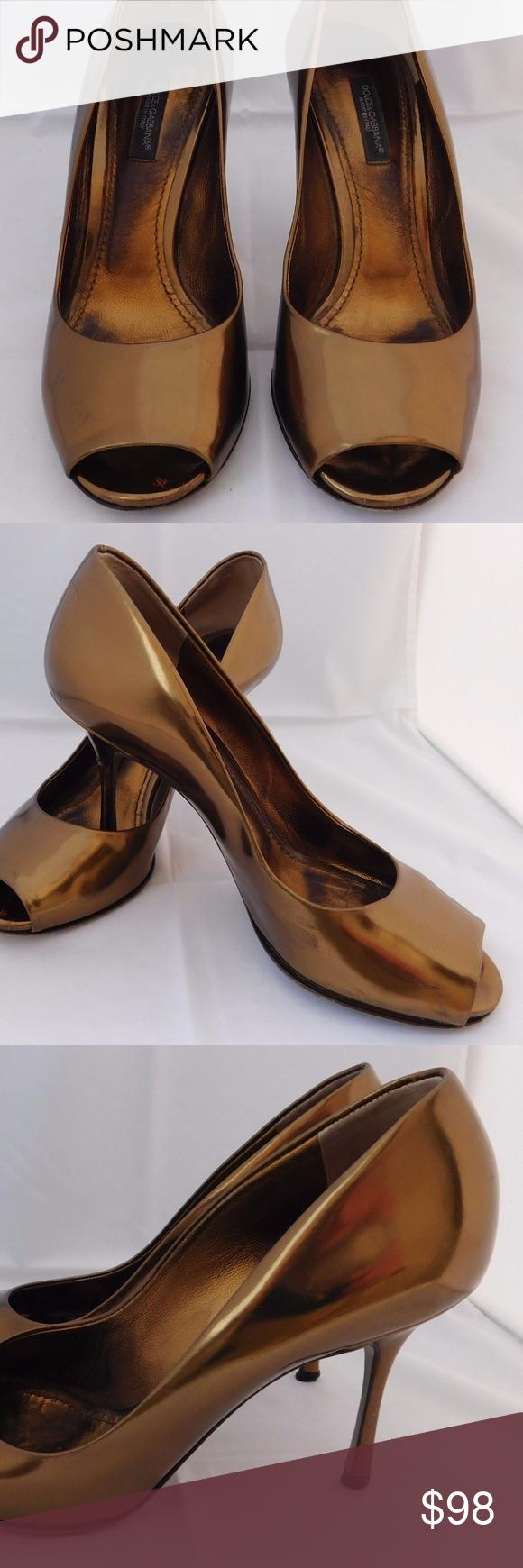42fe81effb Dolce Gabbana Gold Metallic Pumps Heels Shoes 36.5 DOLCE & GABBANA Metallic  Bronze Patent Leather Shoes