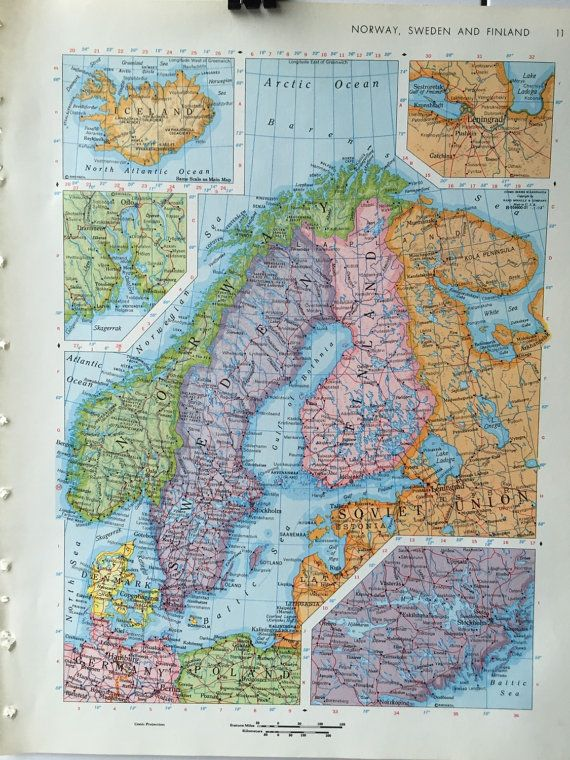Vintage 1967 rand mcnally world atlas map page norway sweden vintage 1967 rand mcnally world atlas map page by greenbasics gumiabroncs Images