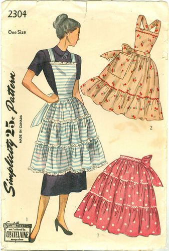 1940\'s Aprons Pattern Bib Style Optional Uncut Simplicity 2304 One ...