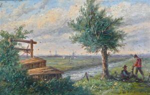 Lion Schulman 1851-1943. Figuren in polderlandschap.