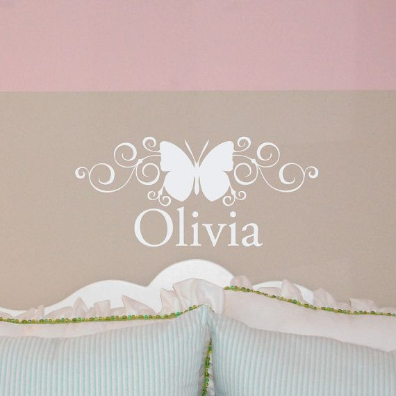 Butterfly Name Decal Butterfly Wall Decal Personalized Name - Monogram vinyl wall decals for girls