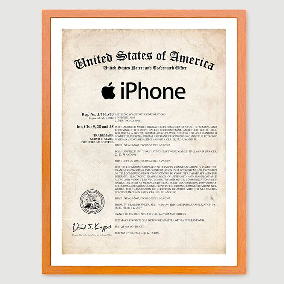 iPhone Certificate US Patent Print 18x24 Poster Apple Computer Steve - new enterprise blueprint apple