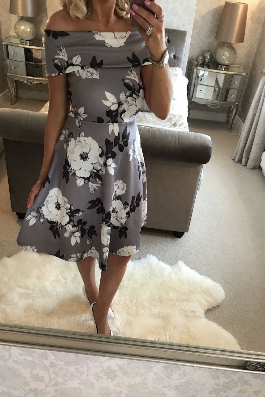 Print short sleeves off shoulder kneelength dress products