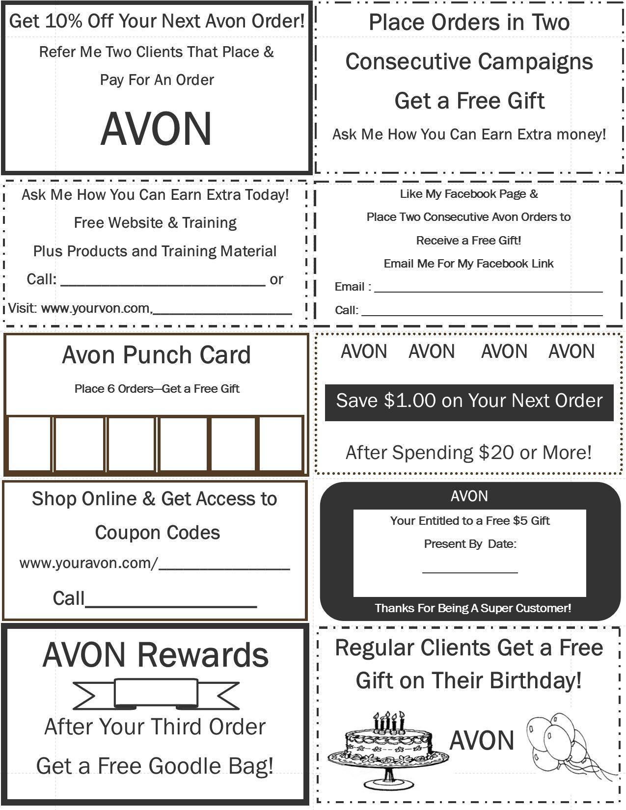Avon pinterest avon for Avon gift certificates templates free