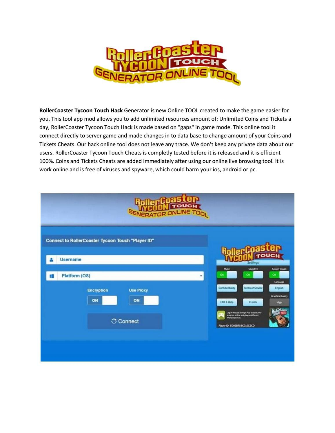 Rollercoaster tycoon touch hack - Get 75,000 Free Tickets