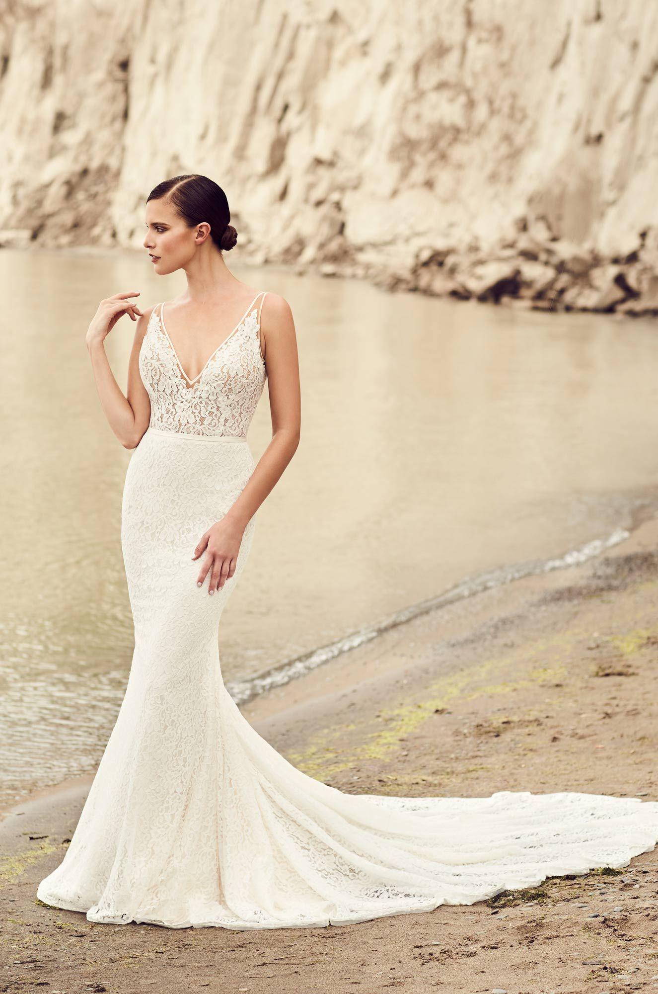 Deep VNeck Wedding Dress Style 2100 Mikaella bridal
