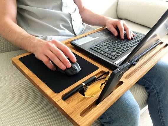 43e690d43164 Lap desk Oak wood laptop stand Portable laptop desk with slots for ...