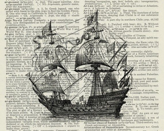 16th century man-of-war ship - artwork printed on page from old dictionary.
