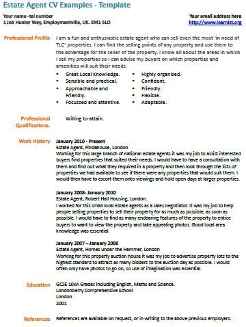 Estate Agent Cv Example Cv Examples Job Resume Samples Resume Examples