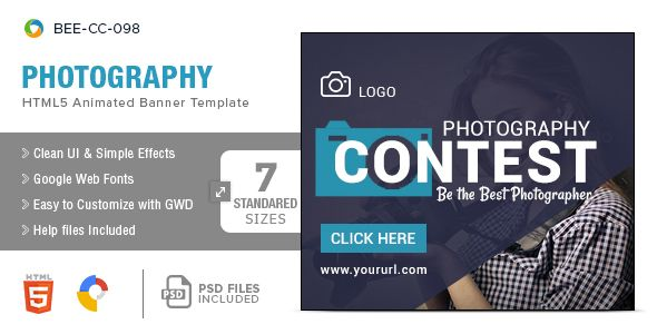 Photography HTML Banners Sizes Banners Google Fonts And Template - Photography ad template