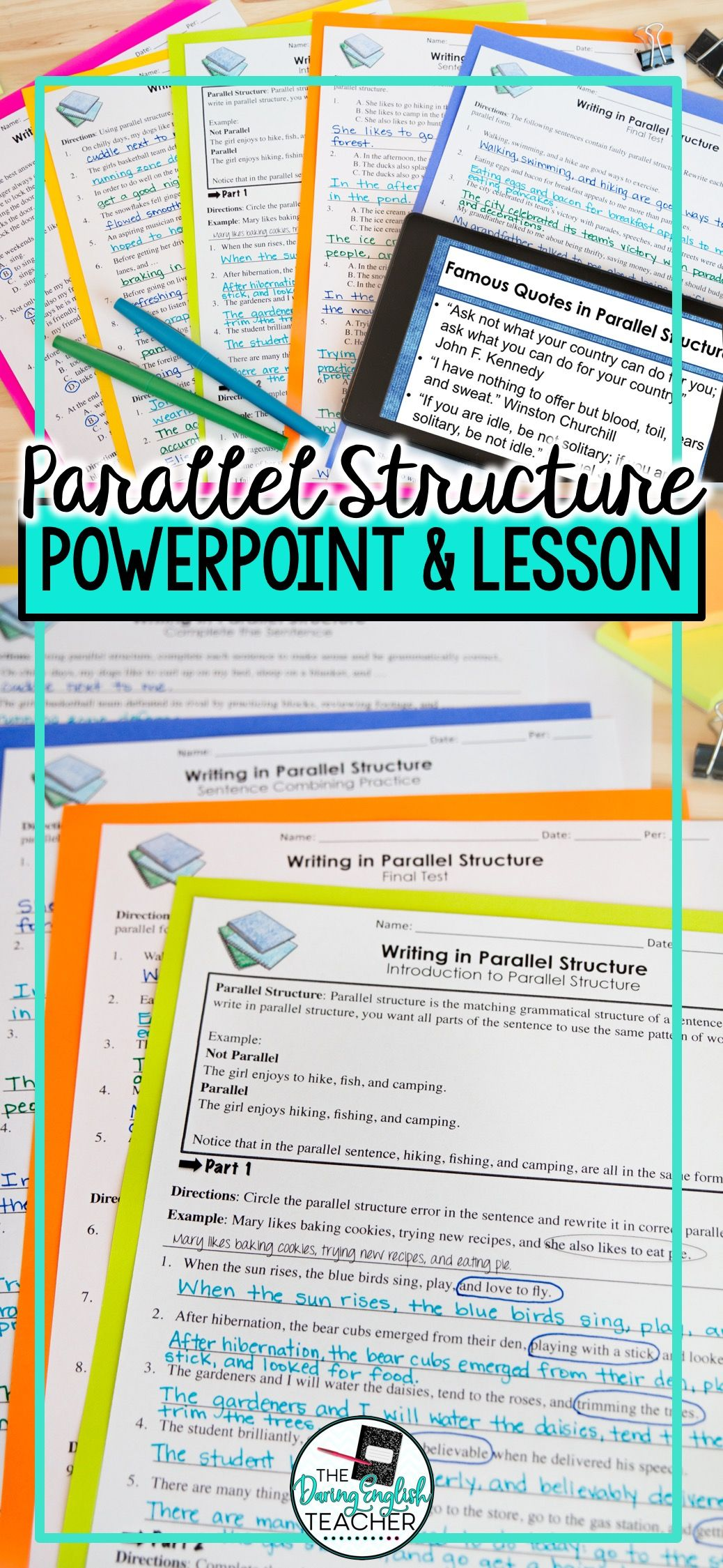 Parallel Structure Powerpoint Worksheets Tests