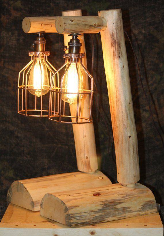 Rustic Log Edison Style Lamps  - Lodge, Western, Vintage, Log Cabin Furniture images