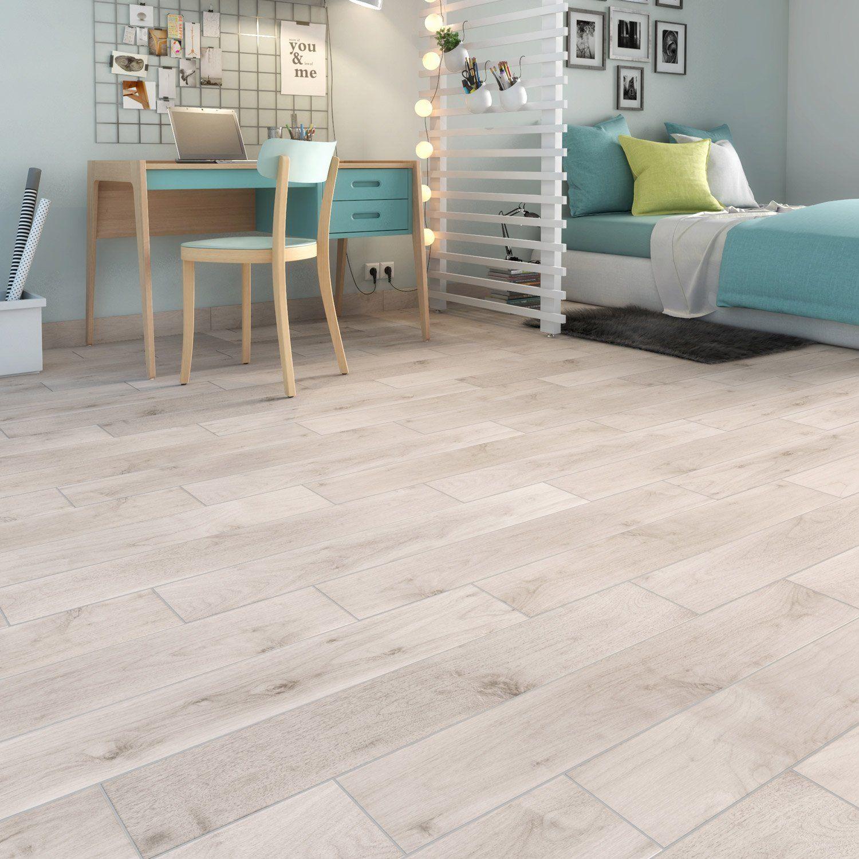 Carrelage Sol Interieur Renovation carrelage sol et mur blanc aspect bois spania l.15 x l.90 cm