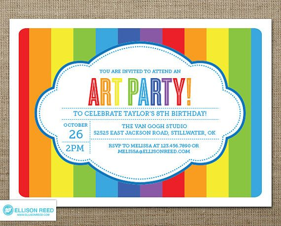 art party invitation art printable art birthday by ellisonreed