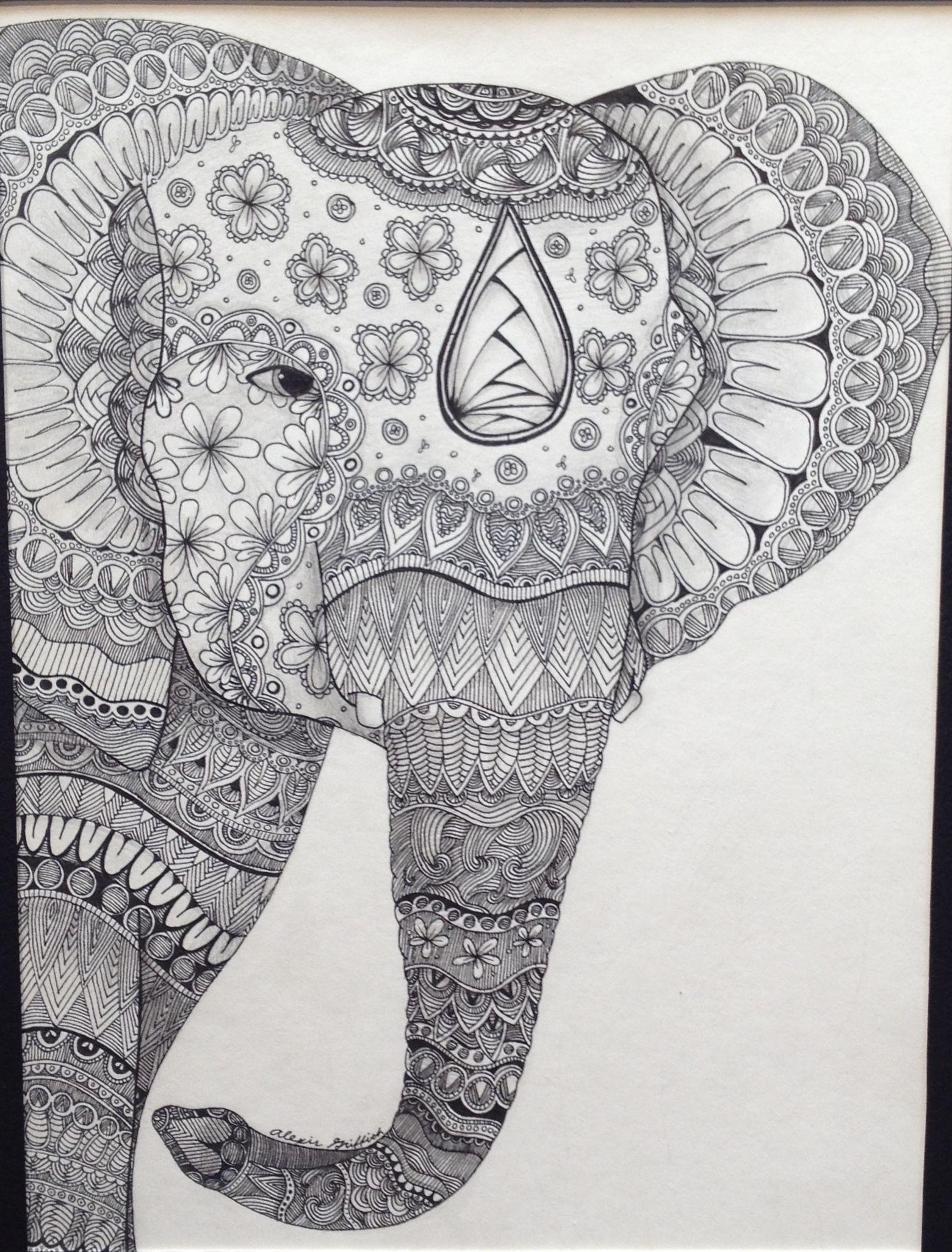 Zentangle Elephant | Adult Colouring~Elephants~Zentangles ...