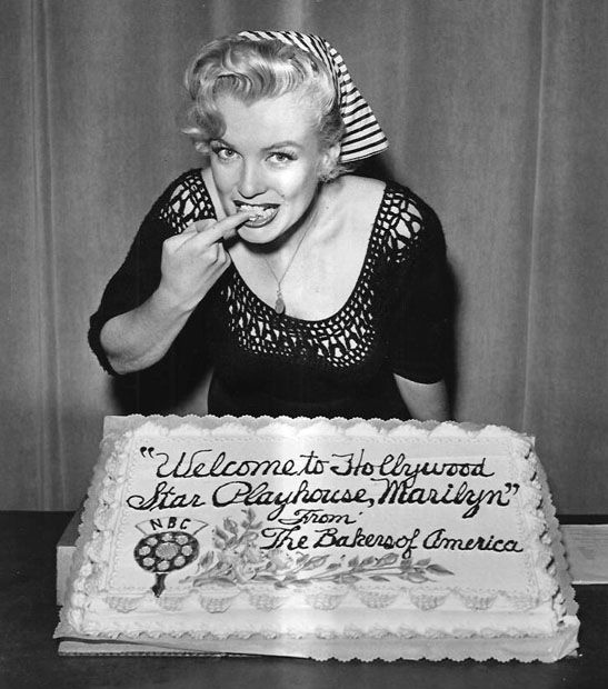 Marilyn Monroe With Birthday Cake Flowers From Crepe Paper Or