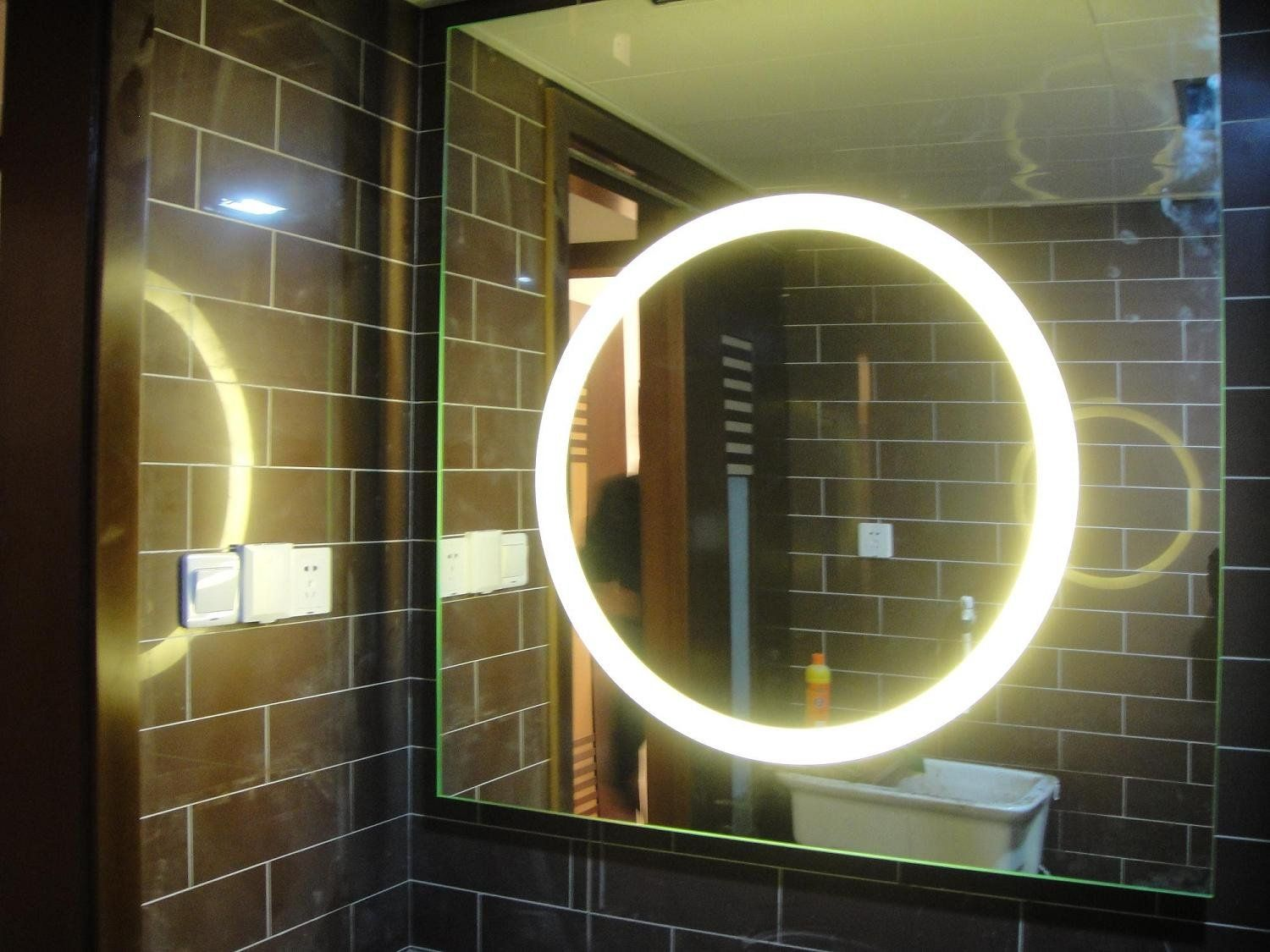bathroom vanity mirrors with lights. Smart Vanity Mirror With Round White Lighting Blend Brown Bricks Wall Design Idea Bathroom Mirrors Lights M