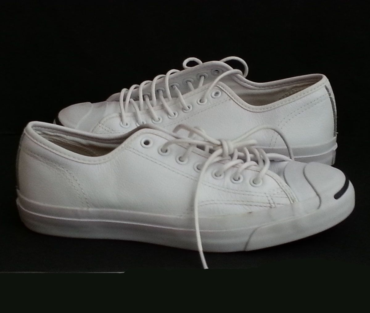 #ebay Converse Jack Purcell leather White Sneakers Unisex men size 8 women  size 9.5 withing