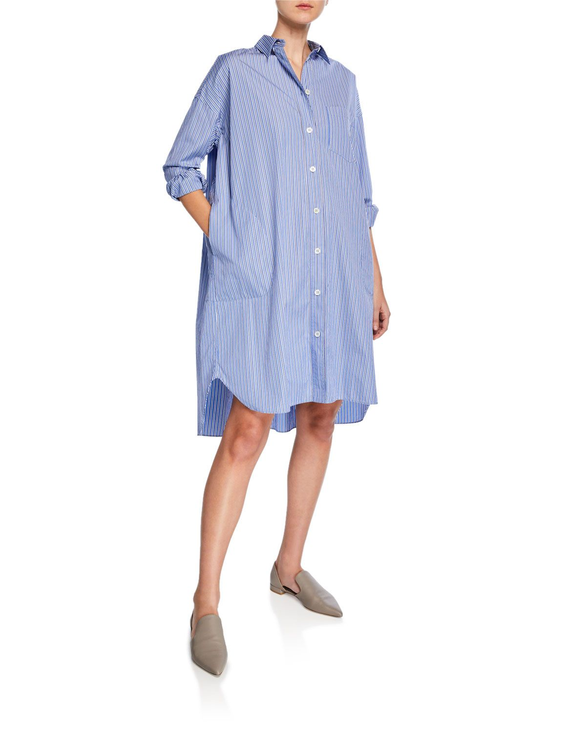 5250081be $565 size 46 Button-Front Long-Sleeve Striped Poplin Shirtdress ...