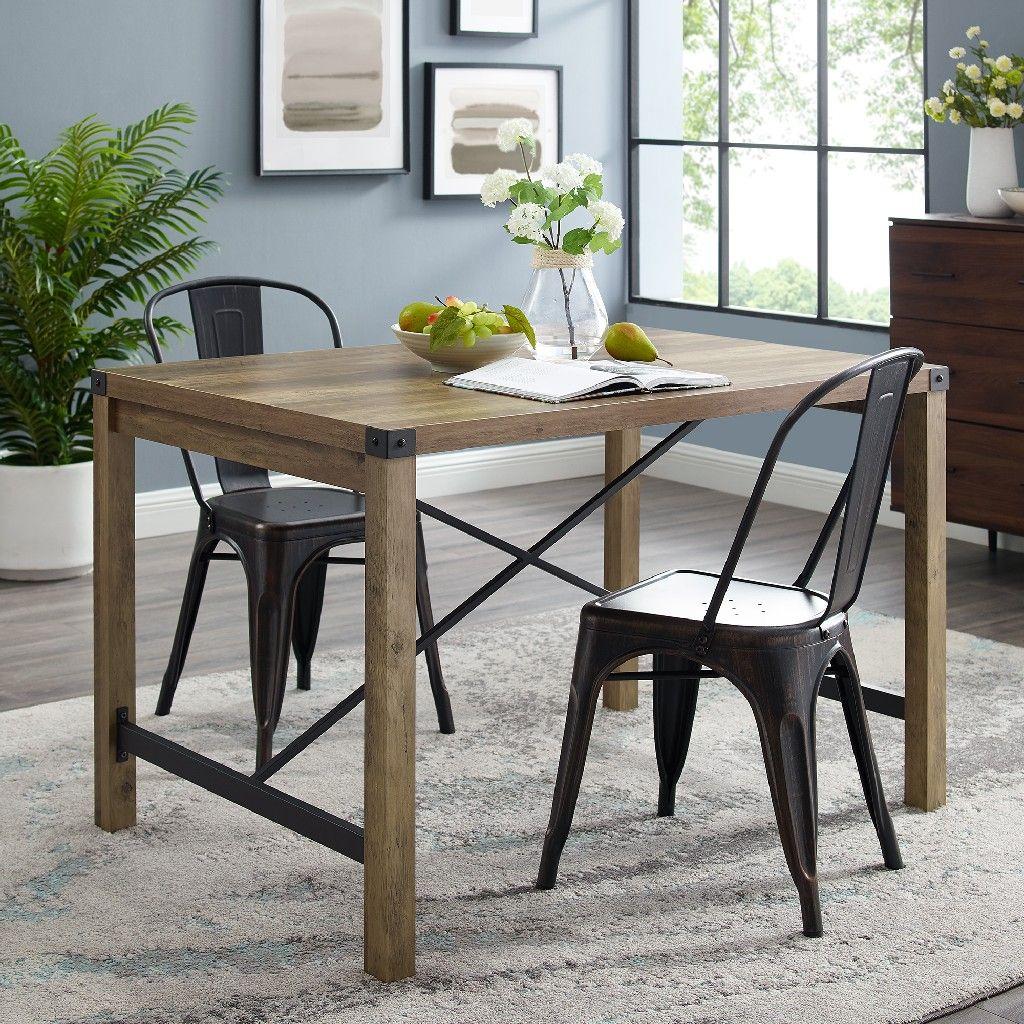 48 industrial farmhouse dining table in rustic oak