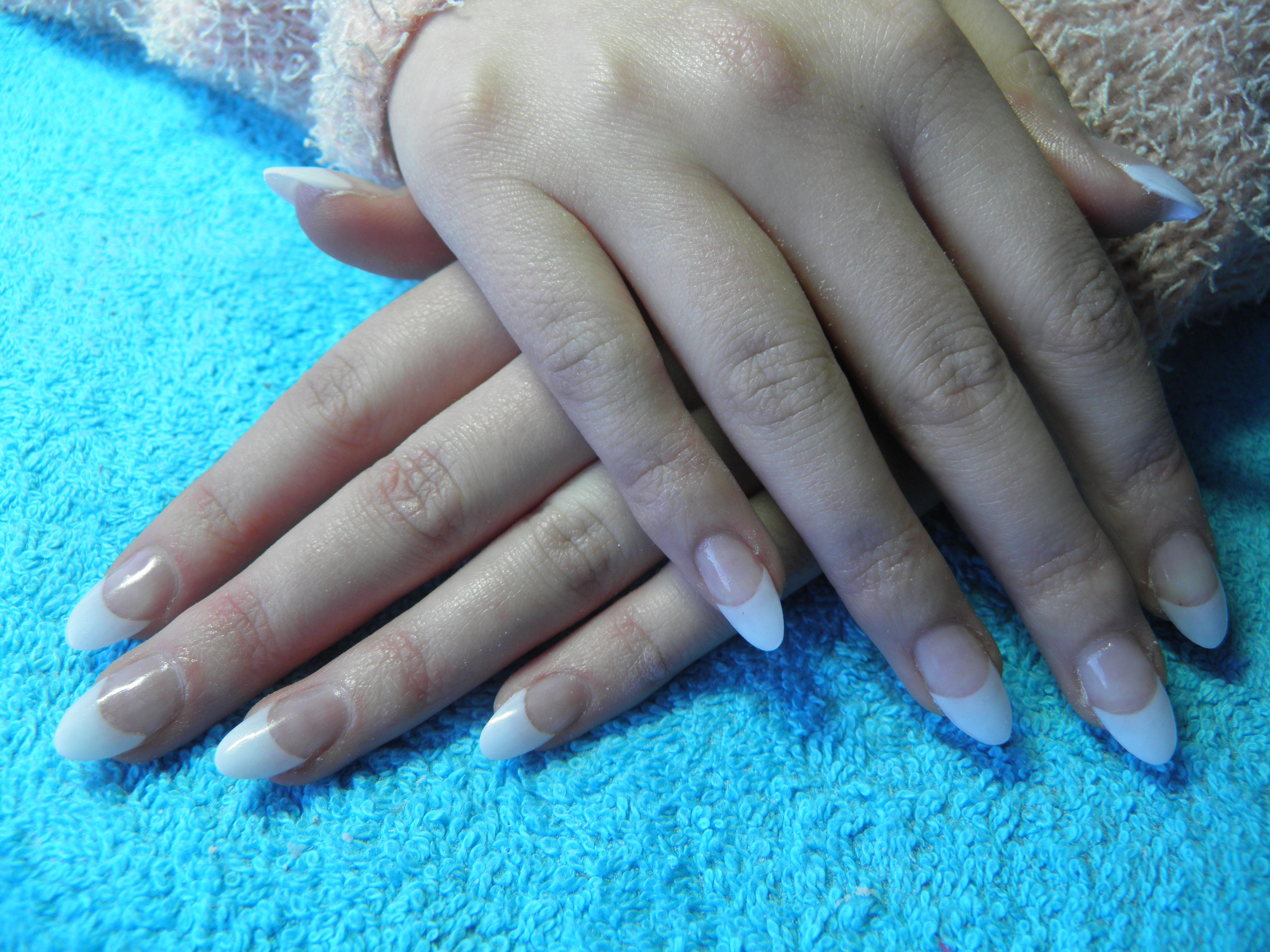 French Acrylics in a Pointed Oval shape | Nails | Pinterest | French ...