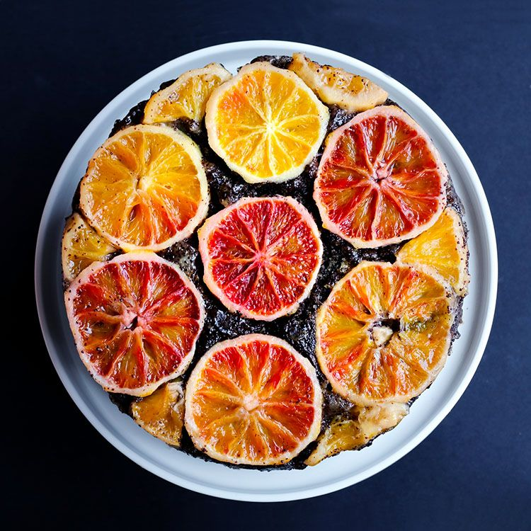 Gingery winter citrus upside down poppy seed cake   by Maikin mokomin #vegan