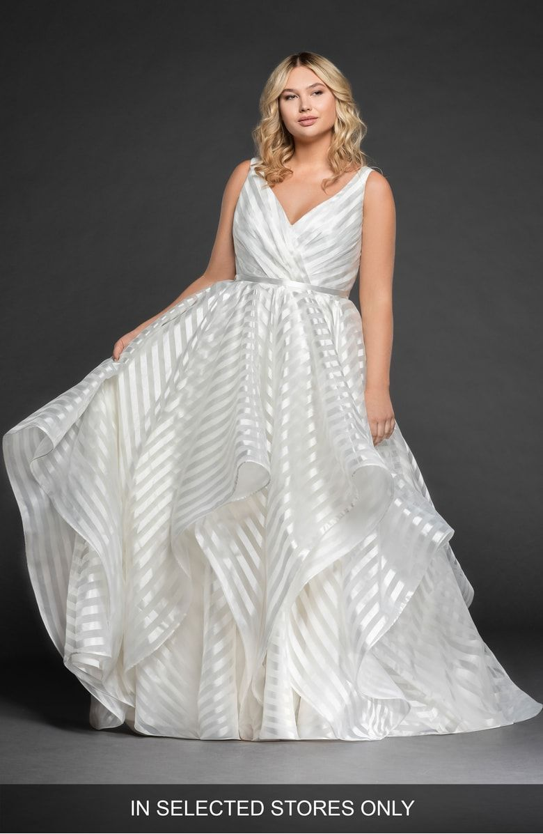 42ed1d20d352 Free shipping and returns on Hayley Paige Decklyn Stripe Organza Ballgown  (Plus Size) at Nordstrom.com. This wedding gown can't be purchased online  but is ...