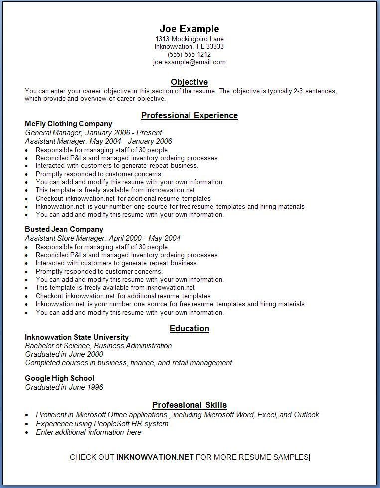 online resume format samples