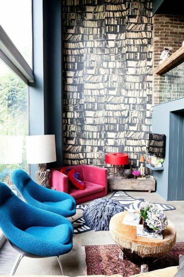 Wohnzimmer Wandgestaltung Ideen Tapeten Muster Bücher