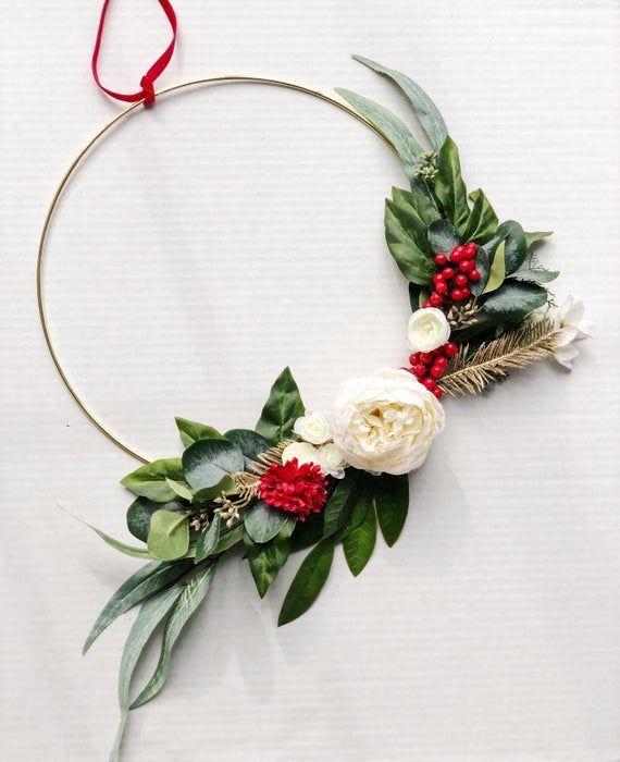 Photo of Minimalist Holiday Wreath, Modern Christmas Wreath, Hoop Wreath, Minimal Wreath, Greenery Wreath, Gold Hoop Wreath, Holiday Decor