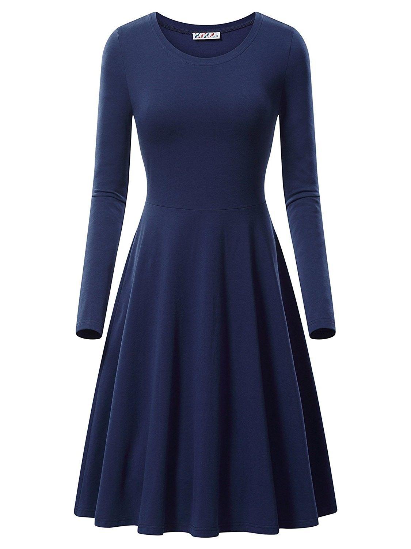 Women S Long Sleeve Scoop Neck Casual Flared Aline Midi Dress Navy Cy18655gig2 Midi Swing Dress Cotton Midi Dress Retro Swing Dresses [ 1500 x 1125 Pixel ]